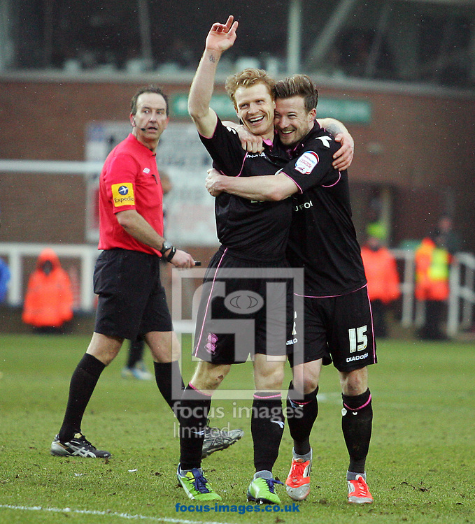 Picture by Rob Fisher/Focus Images Ltd +44 7545 398891.23/02/2013.Christopher Burke of Birmingham City celebrates scoring their second goal during the npower Championship match at London Road, Peterborough.