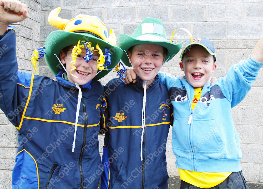 Supporting Inagh at the match in Cusack prk in Ennis on Saturday were Barry Keating (Inagh, 11), Paul Keating (Inagh, 12) &amp; Sean Toomey (Kilnamona,10).<br />
