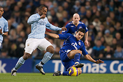 MANCHESTER, ENGLAND - Monday, February 25, 2008: Everton's Tim Cahill and Manchester City's Darius Vassell during the Premiership match at the City of Manchester Stadium. (Photo by David Rawcliffe/Propaganda)