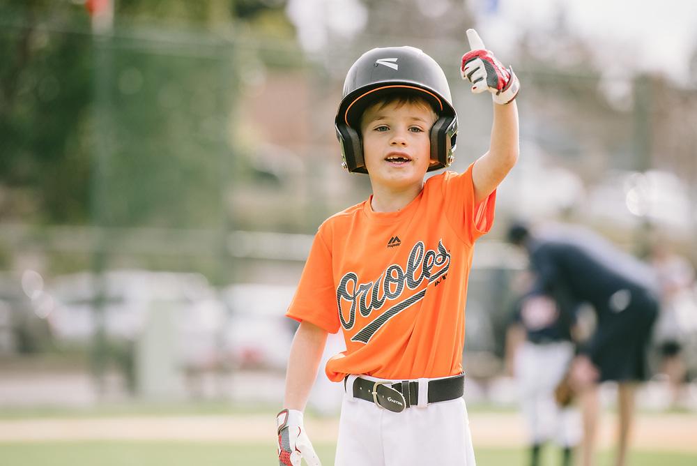 Orioles little league baseball team at Highlands Park. San Carlos, CA