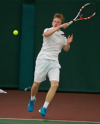 LIVERPOOL, ENGLAND - Wednesday, June 17, 2015: Jacob Whalley during qualifying for the Liverpool Hope University International Tennis Tournament at Watertree Tennis Centre. (Pic by David Rawcliffe/Propaganda)
