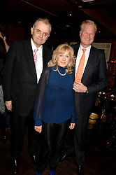 Left to right, CLIVE COLLIN, LIZ BREWER and HENRIK JONSON at a party in honour of Ivana Trump hosted by Mohieb Dahabieh at Pasha, Gloucester Road, London on 25th January 2008.<br />
