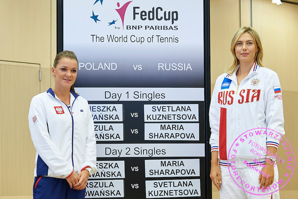 (L) Agnieszka Radwanska from Poland and (R) Maria Sharapova from Russia during official draw one day before the Fed Cup / World Group 1st round tennis match between Poland and Russia at Holiday Inn on February 6, 2015 in Cracow, Poland.<br /> <br /> Poland, Cracow, February 6, 2015<br /> <br /> Picture also available in RAW (NEF) or TIFF format on special request.<br /> <br /> For editorial use only. Any commercial or promotional use requires permission.<br /> <br /> Adam Nurkiewicz declares that he has no rights to the image of people at the photographs of his authorship.<br /> <br /> Mandatory credit:<br /> Photo by &copy; Adam Nurkiewicz / Mediasport