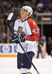 March 13, 2010; San Jose, CA, USA; Florida Panthers defenseman Dmitry Kulikov (43) during the first period against the San Jose Sharks at HP Pavilion. Florida defeated San Jose 3-2 in overtime. Mandatory Credit: Jason O. Watson / US PRESSWIRE
