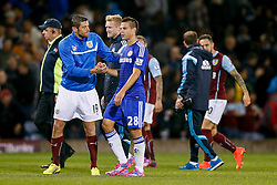 Cesar Azpilicueta of Chelsea is congratulated by Lukas Jutkiewicz of Burnley after Chelsea win 1-3 - Photo mandatory by-line: Rogan Thomson/JMP - 07966 386802 - 18/08/2014 - SPORT - FOOTBALL - Burnley, England - Turf Moor Stadium - Burnley v Chelsea - Barclays Premier League.