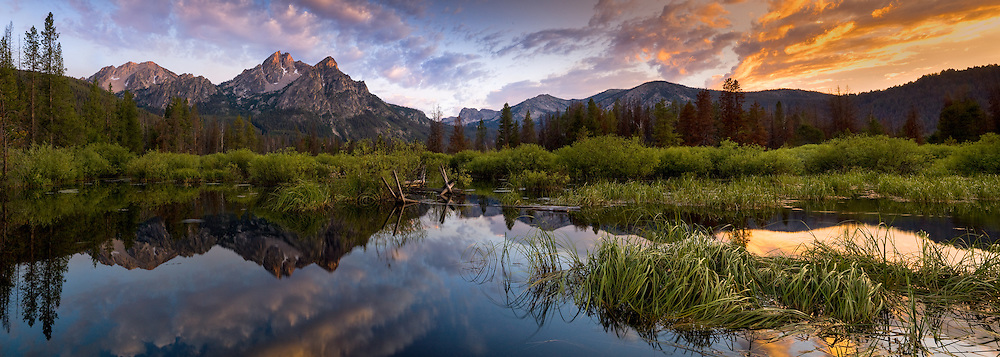 McGown peak reflects into the backwater ponds of Stanley Lake in the Sawtooth Recreation Area.