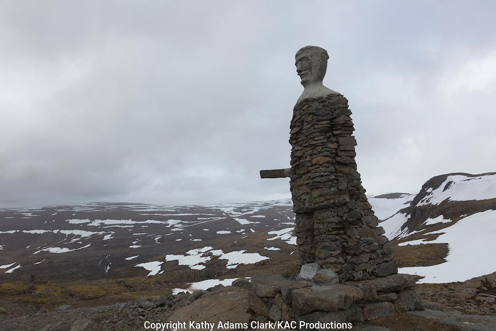 Kleifabui (cairn/statue), Kleifaheidi : Western Fjords, Iceland , West Fjords, Highway 62, pass, Iceland.