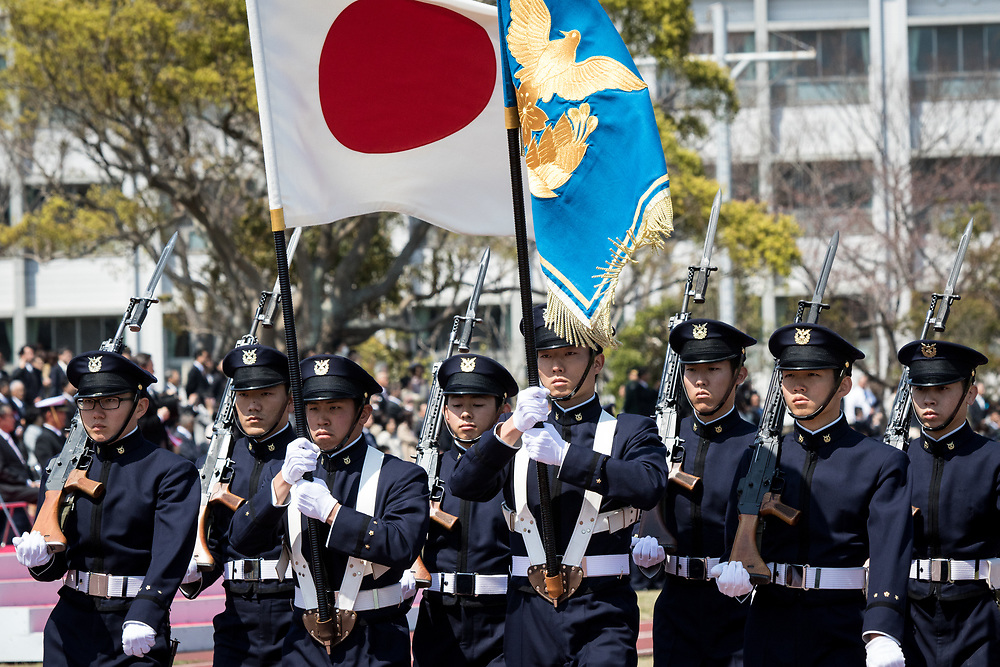 YOKOSUKA, JAPAN - APRIL 5 : Japanese honor guard members bear the flag of Japan during the entrance ceremony at the National Defense Academy in Yokosuka, Kanagawa prefecture, Japan, April 5, 2017. This year, 468 new cadets enter the academy. (Photo by Richard Atrero de Guzman/NUR Photo)