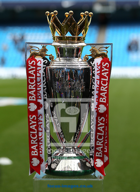 The Premier League Trophy, on display before the Barclays Premier League match at the Etihad Stadium, Manchester<br /> Picture by John Rainford/Focus Images Ltd +44 7506 538356<br /> 11/05/2014