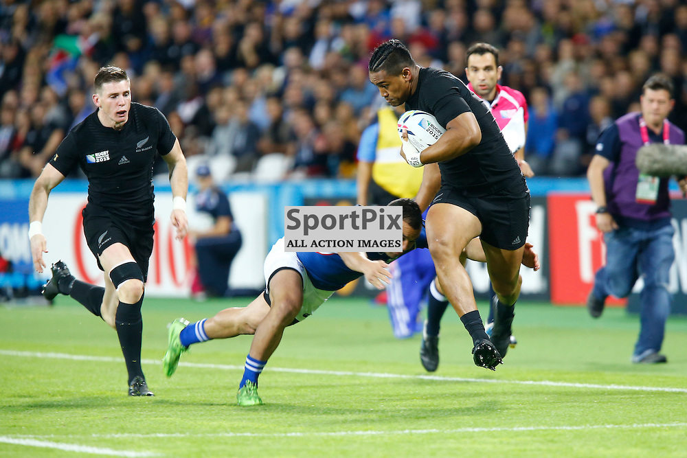 New Zealand's Back Row Victor Vito shrugges off a tackle to score a try. Rugby World Cup group game from Pool C between New Zealand and Namibia at Olympic Stadium. (c) Matt Bristow | SportPix.org.uk
