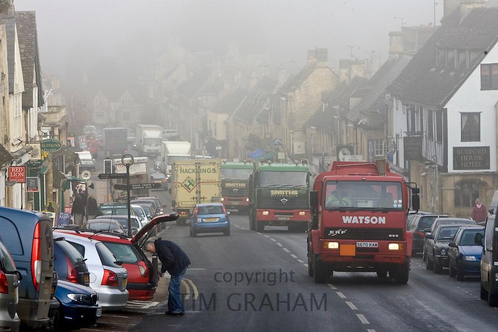 Heavy Goods Vehicles on Burford High Street, Oxfordshire, United Kingdom