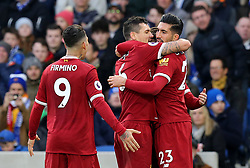 """Liverpool's Emre Can (right) celebrates scoring his side's first goal with team-mates Dejan Lovren (centre) and Roberto Firmino during the Premier League match at the AMEX Stadium, Brighton. PRESS ASSOCIATION Photo Picture date: Saturday December 2, 2017. See PA story SOCCER Brighton. Photo credit should read: Gareth Fuller/PA Wire. RESTRICTIONS: EDITORIAL USE ONLY No use with unauthorised audio, video, data, fixture lists, club/league logos or """"live"""" services. Online in-match use limited to 75 images, no video emulation. No use in betting, games or single club/league/player publications."""