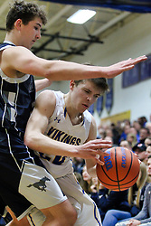 11 January 2019: Boys Basketball game between the Ridgeview Mustangs and the Tri Valley Vikings in Tri Valley High School, Downs IL