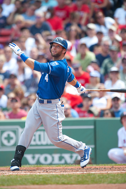 BOSTON - JULY 28: Alex Gordon #4 of the Kansas City Royals bats during the game against the Boston Red Sox at Fenway Park on July 28, 2011 in Boston, Massachusetts. (Photo by Rob Tringali) *** Local Caption *** Alex Gordon