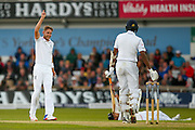 England & Nottinghamshire bowler Stuart Broad  gets the wicket of Sri Lanka Dushmantha Chameera  for his third wicket of the game during day 2 of the first Investec Test Series 2016 match between England and Sri Lanka at Headingley Stadium, Headingley, United Kingdom on 20 May 2016. Photo by Simon Davies.