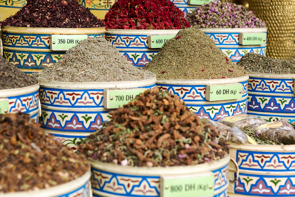 Assorted spice stand, aromatic herbs and dried flower natural perfumes, Marrakesh, Morocco, North Africa, 2016–04-21.