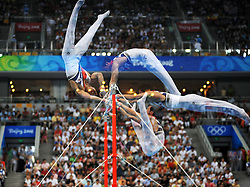 Korea's Yang Taeyoung competes on the high bar for artistic gymnastics men's individual all-around  finals during the Olympic games in Beijing, China, 14 August 2008. The Chinese won the gold medal for the event with Japan and France taking silver and bronze respectively.