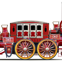 Large scale, highly detailed illustration of a Victorian steam powered road carriage