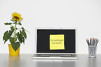 Sunflower plant on desk and sticky notepaper with Dutch text on laptop screen saying Spending time with family