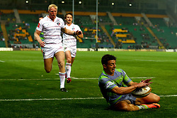 Adam Radwan of Newcastle Falcons scores a try - Mandatory by-line: Robbie Stephenson/JMP - 28/07/2017 - RUGBY - Franklin's Gardens - Northampton, England - Newcastle Falcons v Leicester Tigers - Singha Premiership Rugby 7s