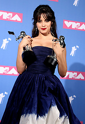August 20, 2018 - New York City, New York, U.S. - Singer CAMILA CABELLO poses for photos in the press room for the 2018 MTV 'VMAS' held at Radio City Music Hall. (Credit Image: © Nancy Kaszerman via ZUMA Wire)