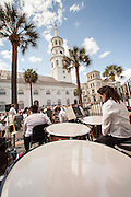 The Charleston Symphony Orchestra Brass Ensemble plays with historic St. Michaels Church in the background at the start of the Spoleto Festival USA on May 25, 2012 in Charleston, South Carolina. The 17-day performing arts festival will include more than 140 performances on stages throughout Charleston.