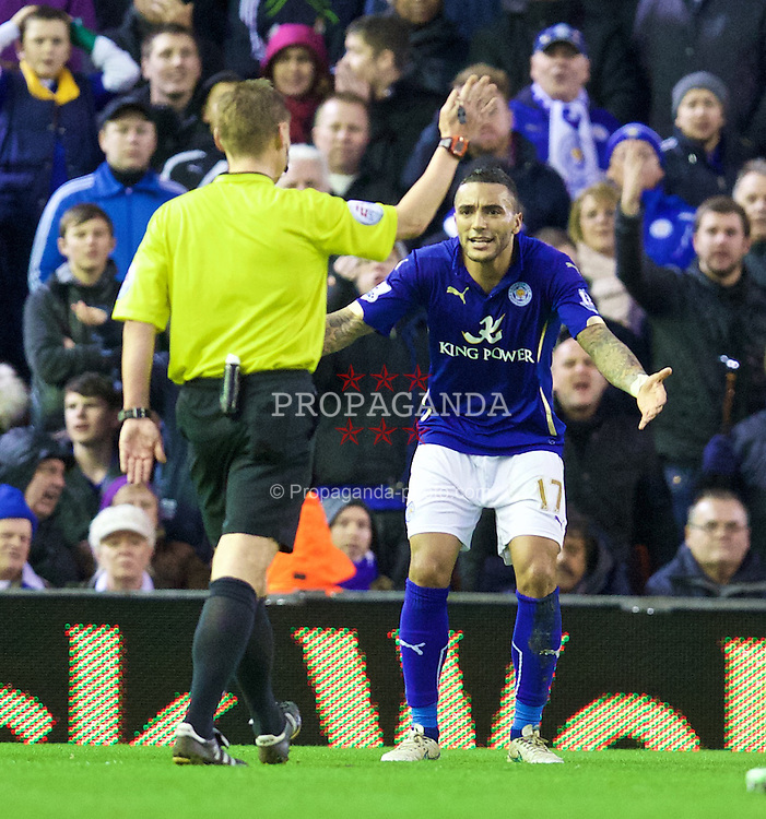 LIVERPOOL, ENGLAND - Thursday, New Year's Day, January 1, 2015: Leicester City's Danny Simpson protests to referee Mike Jones after a second penalty is awarded to Liverpool during the Premier League match at Anfield. (Pic by David Rawcliffe/Propaganda)