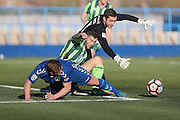 close AFC Wimbledon goalkeeper James Shea (1) and AFC Wimbledon defender Jon Meades (3) stop Curzon Ashton midfielder Iain Howard (4) from scoring during the The FA Cup match between Curzon Ashton and AFC Wimbledon at Tameside Stadium, Ashton Under Lyne, United Kingdom on 4 December 2016. Photo by Stuart Butcher.