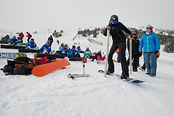 HUCKABY Brenna, banked slalom training, 2015 IPC Snowboarding World Championships, La Molina, Spain