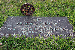 17 July 2009:  Hittle Grove cemetery, historical burial site of the Orndorff - Albright massacre of 1860, is located in Tazwell County Illinois.  Grave and veterans marker of Frank L. Timian....About the massacre:..On the morning of the 12th of Oct. A.D. 1860, the husband and father in whose memory this monument is erected, was called away on business, from his residence three miles southeast of Delavan, Illinois. He left his family, consisting of his wife and two small daughters.  When he returned, no little ones ran to greet him, as was their custom. This caused alarm for the welfare of his dear ones.  Entering the house, he found his wife and daughters, whom he had left in perfect health and joyful spirits a few hours earlier.  They had been  murdered while he was absent. They were now lying prostrate and weltering in their blood.  The mother and younger daughter were already dead.  The older daughter was still living and moaning piteously but unable to whisper one word to her father.  At four o'clock the next morning, death ended her suffering.  Kind friends carried them in one coffin, to their last resting place...The murderer was a former hired hand. As he was robbing the family. He killed them in order to cover up the crime.  He was later found hiding in a corn crib in Logan County and was returned to Pekin where he became the first man to be hung in Tazewell County.  .