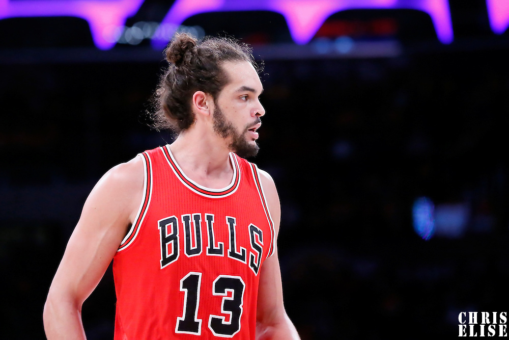 29 January 2015: Chicago Bulls center Joakim Noah (13) rests during the Los Angeles Lakers 123-118 2OT victory over the Chicago Bulls, at the Staples Center, Los Angeles, California, USA.