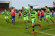 Forest Green Rovers Liam Noble(15) scores a goal 0-1and celebrates during the Vanarama National League first leg play off match between Dagenham and Redbridge and Forest Green Rovers at the London Borough of Barking and Dagenham Stadium, London, England on 4 May 2017. Photo by Shane Healey.