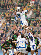 Northampton, GREAT BRITAIN, Bath's Danny GREWCOCK collects a clean line out ball during the Northampton Saints vs Bath Rugby,  Guinness Premiership Rugby match, at  Franklin's Gardens, Northampton, ENGLAND on 20/08/2004 [Photo, Peter Spurrier/Intersport-images].