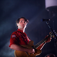Lead singer Ezra Koenig of Vampire Weekend performs as the finale during the Governors Ball Music Festival on Randall's Island in New York, NY on June 8, 2014.