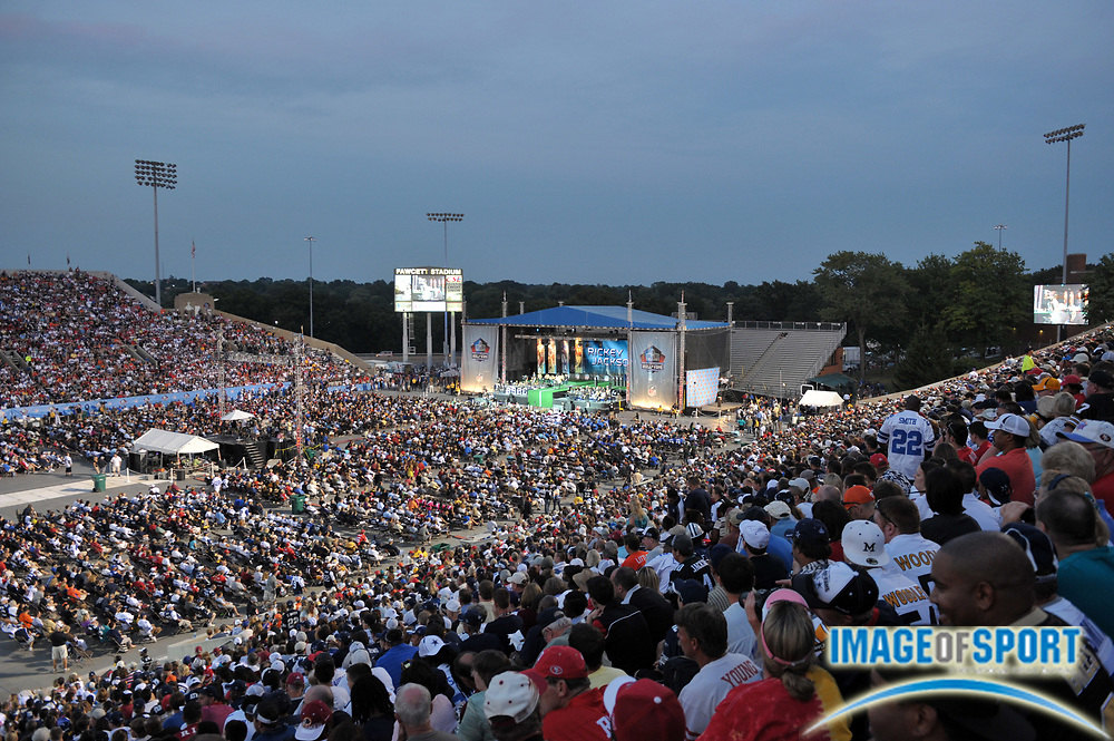 Aug 7, 2010; Canton, OH, USA; General view of the 2010 Pro Football Hall of Fame enshrinement ceremony at Fawcett Stadium. Photo by Image of Sport