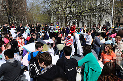 Locals gather at Washington Square park, in Philadelphia, PA., USA, on April 2, 2016 to participate in the Annual Pillow Fight Day
