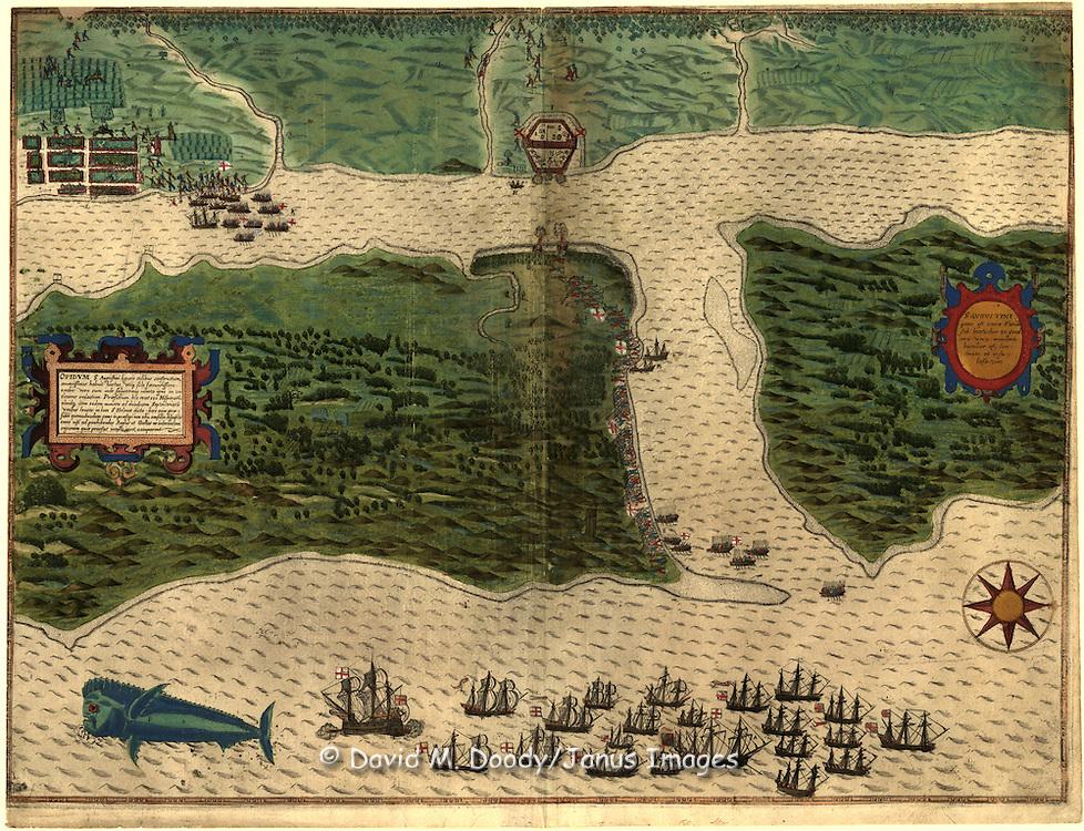 Spanish Map of Florida 1589. S. Augustini : pars est terra Florida, sub latitudine 30 grad, ora vero maritima humilior est, lancinata et insulosa .Boazio, Baptista.  Saint Augustine Florida.