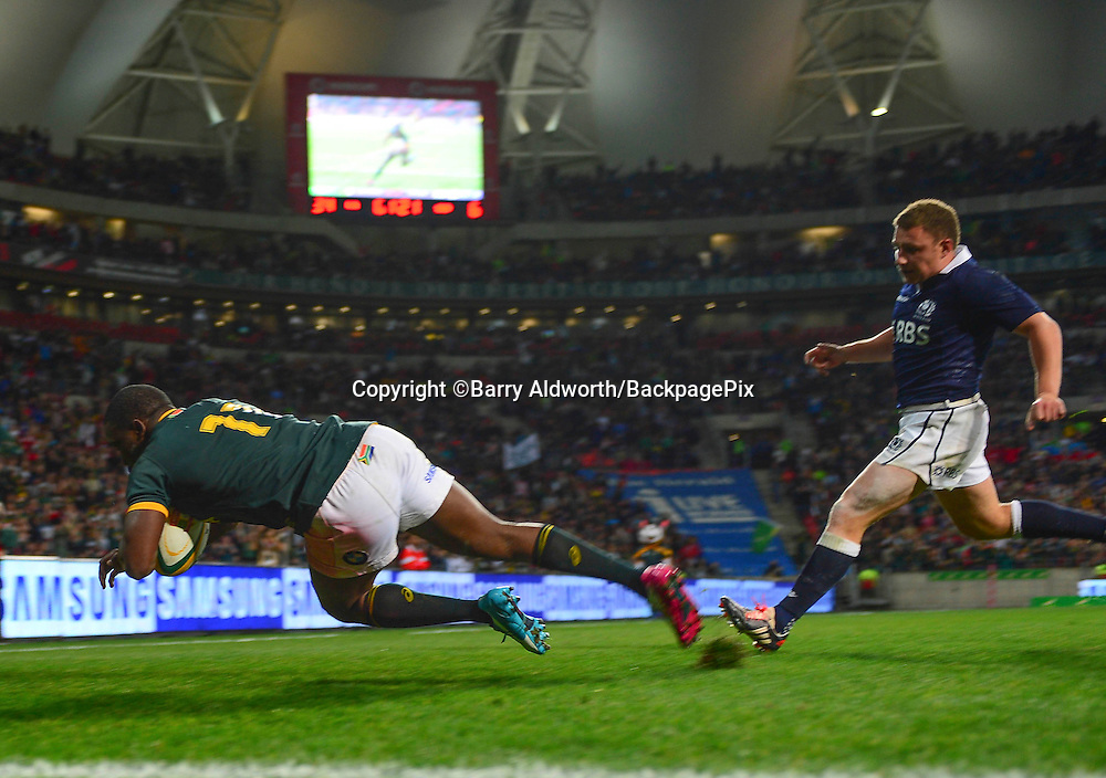Lwazi Mvovo of South Africa scores his second try during the 2014 Castle Lager Incoming Series rugby test match between South Africa and Scotland at the Nelson Mandela Bay Stadium in Port Elizabeth, South Africa on June 27, 2014 ©Barry Aldworth/BackpagePix