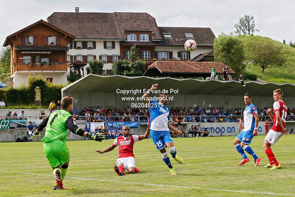 WEGGIS - 31-07-2014 - Hoffenheim - AZ,  Thermoplan Arena, oefenwedstrijd, 3-0, AZ speler Markus Henriksen (r), AZ speler Mikhail Rosheuvel (2vl), Oliver Baumann (l).