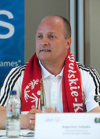 """Boguslaw Galazka - director of Special Olympics Poland while press conference before  demonstration match of the Special Olympics as part of the Respect Inclusion """"Football With No Limits"""" before the UEFA EURO 2012 Quarterfinal football match between Portugal and Czech Republic at National Stadium in Warsaw on June 21, 2012...Poland, Warsaw, June 21, 2012..Picture also available in RAW (NEF) or TIFF format on special request...For editorial use only. Any commercial or promotional use requires permission...Photo by © Adam Nurkiewicz / Mediasport"""