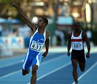 Friidrett - Athletics<br /> Junior-VM 2004 - World Junior Championships 2004<br /> Grosseto - Italia - Italy<br /> 16.07.2004<br /> Foto: Morten Olsen, Digitalsport<br /> <br /> Italienske Andrew Howe vinner 200 meter