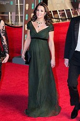 © Licensed to London News Pictures. 18/02/2018. THE DUCHESS of CAMBRIDGE arrives on the red carpet for the EE British Academy Film Awards 2018, held at the Royal Albert Hall, London, UK. Photo credit: Ray Tang/LNP