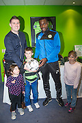 Forest Green Rovers Dale Bennett(6) with the match ball sponsors during the Vanarama National League match between Forest Green Rovers and Barrow at the New Lawn, Forest Green, United Kingdom on 1 October 2016. Photo by Shane Healey.