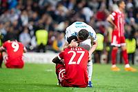 Real Madrid Nacho Fernandez and Bayern Munich David Alaba during Semi Finals UEFA Champions League match between Real Madrid and Bayern Munich at Santiago Bernabeu Stadium in Madrid, Spain. May 01, 2018. (ALTERPHOTOS/Borja B.Hojas)