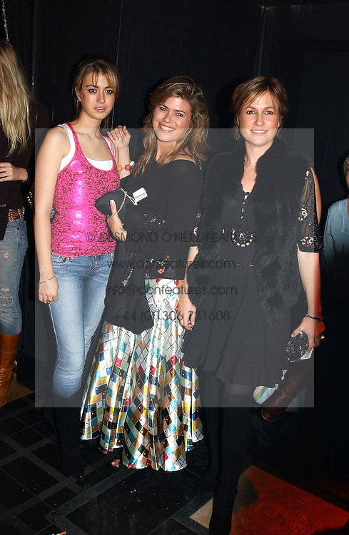 Left to right, INDIA STANDING, SARAH STANDING and EMMA FORBES at a party to celebrate a new collection of sexy underware by Janet Reger called 'Naughty Janet' held at 5 Cavendish Square, London on 19th October 2004.<br />