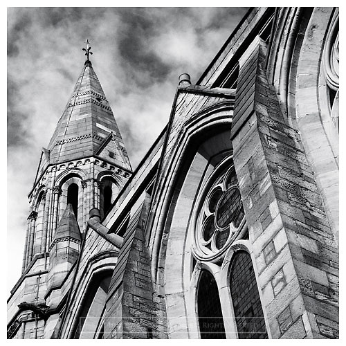 Black and white photograph of Kelvinside Hillhead Church in the West End of Glasgow. Mounted print available to purchase.
