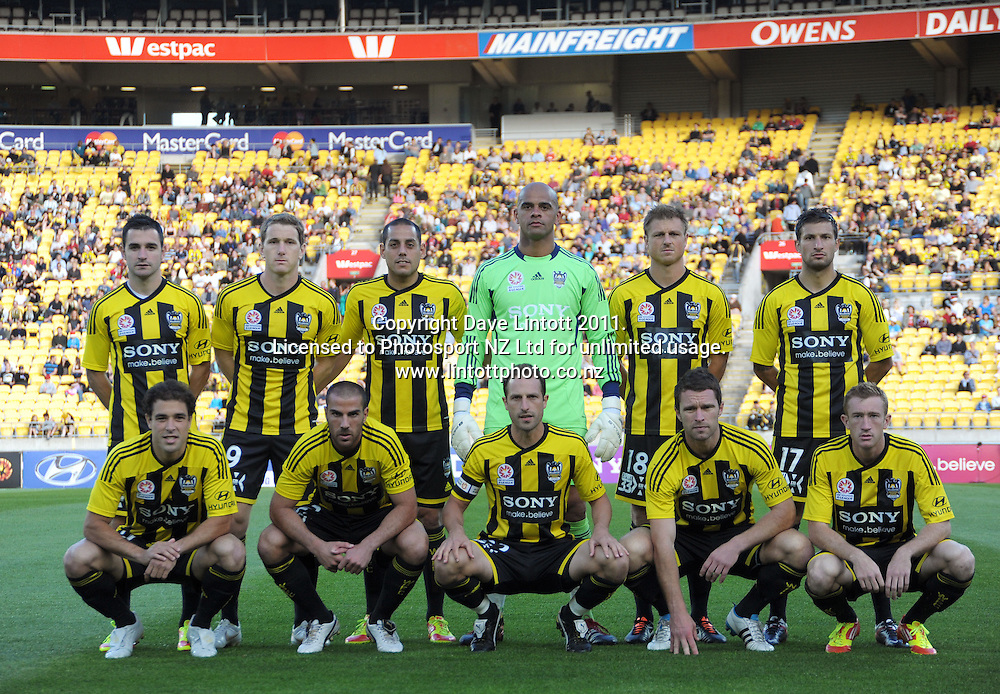 The Phoenix starting XI during the A-League football match between Wellington Phoenix v Newcastle Jets at Westpac Stadium, Wellington, New Zealand on Friday, 23 December 2011. Photo: Dave Lintott / lintottphoto.co.nz
