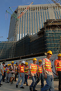 On reclaimed land between the Macau islands of Taipa and Coloane, is the Cotai development. Central to this is the vast building site for the 3000 room Venetian hotel-casino-conference centre owned by the Las Vegas based Sands company.