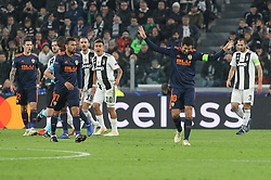 November 27, 2018 - Turin, Piedmont, Italy - Dani Parejo (Valencia CF)  polemics for an arbitration decision during the UEFA Champions League match between Juventus FC and Valencia CF, at Allianz Stadium on November 27, 2018 in Turin, Italy. .Juventus won 1-0 over Valencia. (Credit Image: © Massimiliano Ferraro/NurPhoto via ZUMA Press)