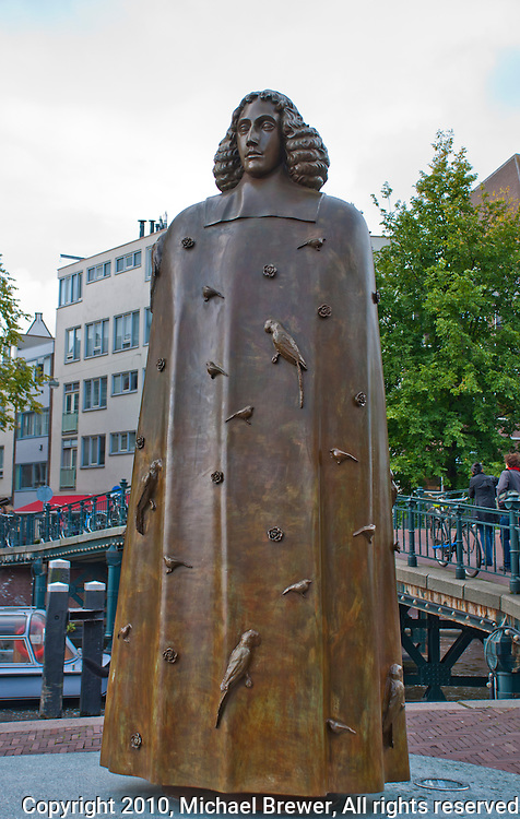 Amsterdam, Holland. Statue of the Dutch philosopher Spinoza.